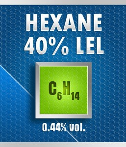 Gasco Bump Test 262-40: Hexane (C6H14) 0.44% vol. (40% LEL) Calibration Gas