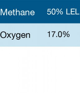 Bump Test Gas: Gasco 303 Multi-Gas Mix: 50% LEL Methane, 17% Oxygen, Balance Nitrogen