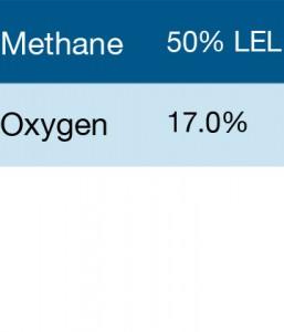 Bump Test Gas: Gasco 303 Multi-Gas Mix: 50% LEL Methane, 17% Oxygen, Balance Nitrogen