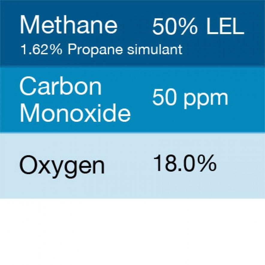 Bump Test Gas: Gasco 303E Multi-Gas Mix: 50 PPM Carbon Monoxide, 1