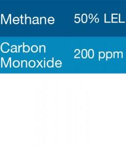 Gasco 307 Multi-Gas Mix: 200 PPM Carbon Monoxide, 50% LEL Methane, Balance Air
