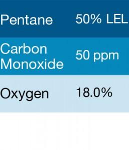 Bump Test Gas: Gasco 322-18 Multi-Gas Mix: 50 PPM Carbon Monoxide, 50% LEL Pentane, 18% Oxygen, Balance Nitrogen