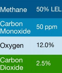 Bump Test Gas: Gasco 395 Multi-Gas Mix: 50 PPM Carbon Monoxide, 50% LEL Methane, 2.5% Carbon Dioxide, 12.0% Oxygen, Balance Nitrogen