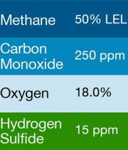 Gasco 400 Multi-Gas Mix: 250 PPM Carbon Monoxide, 50% LEL Methane, 18.0% Oxygen, 15 PPM Hydrogen Sulfide, Balance Nitrogen