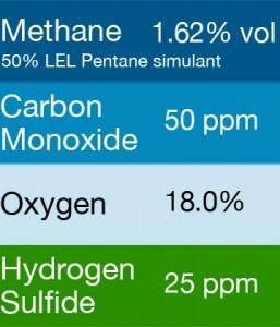 Gasco 403E Multi-Gas Mix: 50 PPM Carbon Monoxide, 1.62% Vol. = (50% LEL) Pentane simulant, 18.0% Oxygen, 25 PPM Hydrogen Sulfide, Balance Nitrogen