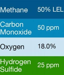 Gasco 406 Multi-Gas Mix: 50 PPM Carbon Monoxide, 50% LEL Methane, 18.0% Oxygen, 25 PPM Hydrogen Sulfide, Balance Nitrogen