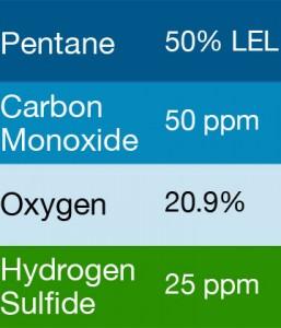 Bump Test Gas: Gasco 417 Multi-Gas Mix: 50 PPM Carbon Monoxide, 50% LEL Pentane, 20.9% Oxygen, 25 PPM Hydrogen Sulfide, Balance Nitrogen