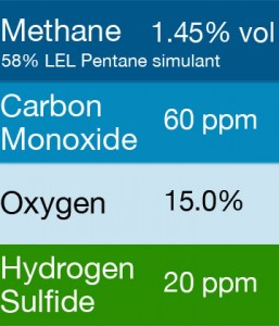 Gasco 428.2 Multi-Gas Mix: 60 PPM Carbon Monoxide, 1.45% Vol. = (58% LEL) Pentane simulant, 15.0% Oxygen, 20 PPM Hydrogen Sulfide, Balance Nitrogen