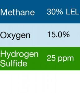 Gasco 430 Multi-Gas Mix: 30% LEL Methane, 15.0% Oxygen, 25 PPM Hydrogen Sulfide, Balance Nitrogen