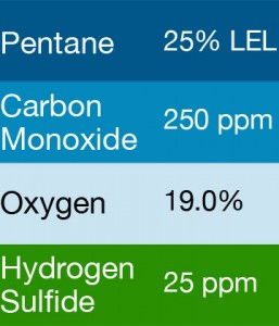 Gasco 469 Multi-Gas Mix: 250 PPM Carbon Monoxide, 25% LEL Pentane, 19.0 Oxygen, 25 PPM Hydrogen Sulfide, Balance Nitrogen