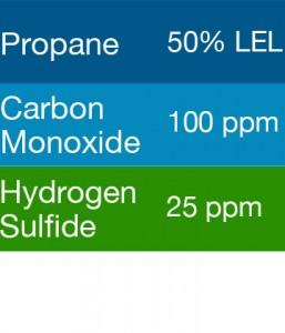 Gasco 470 Multi-Gas Mix: 100 PPM Carbon Monoxide, 50% LEL Propane, 25 PPM Hydrogen Sulfide, Balance Air