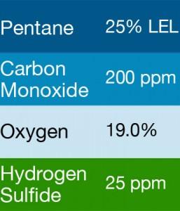 Bump Test Gas: Gasco 477 Multi-Gas Mix: 200 PPM Carbon Monoxide, 25% LEL Pentane, 19.0 Oxygen, 25 PPM Hydrogen Sulfide, Balance Nitrogen