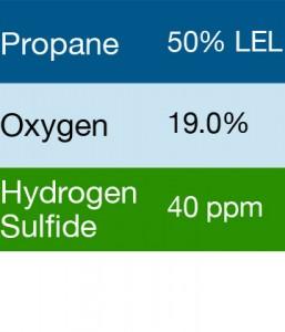 Bump Test Gas: Gasco 483S Multi-Gas Mix: 50% LEL Propane, 19.0 Oxygen, 40 PPM Hydrogen Sulfide, Balance Nitrogen