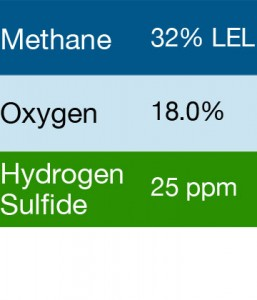 Bump Test Gas: Gasco 489 Multi-Gas Mix: 32% LEL Methane, 18.0% Oxygen, 25 PPM Hydrogen Sulfide, Balance Nitrogen